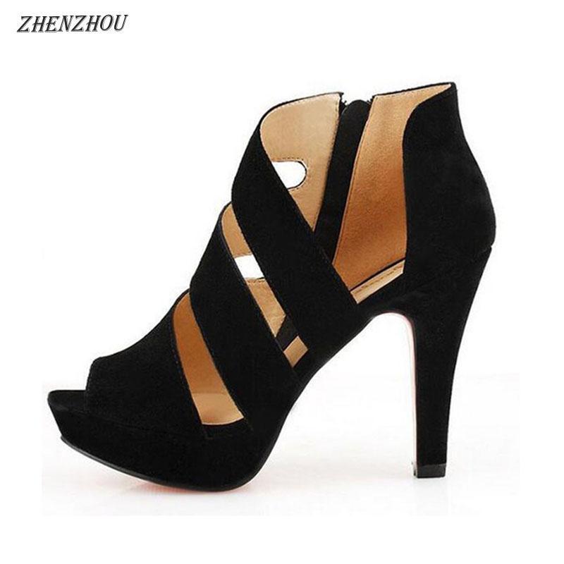 bc3c121f8 Compre Zapatos De Vestir De Diseñador ZHENZHOU 2019 Sandalias Romanas De  Verano Para Mujer Cremalleras Laterales De Boca De Pez Con Plataforma  Impermeable ...