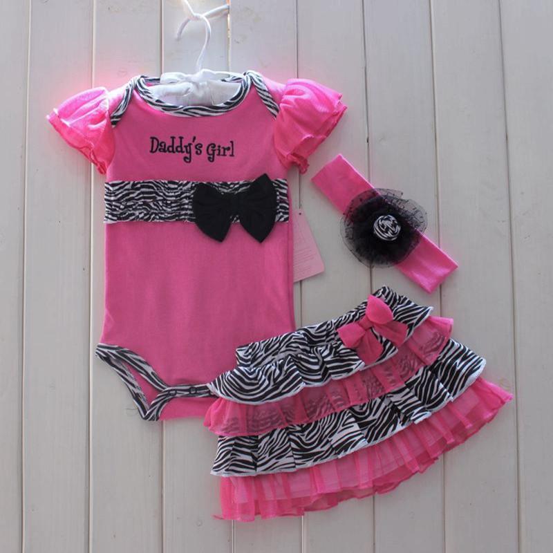 33ec72c38 Moda recién nacido ropa de niña bebé mameluco corto, Tutu falda diadema 3  trajes de la PC infantil Toddler Zebra Summer Girls Conjuntos de ropa ...