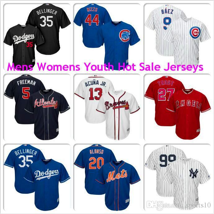 Homens Mulher Crianças Cody Bellinger Mike Trout Aaron juiz Javier Baez Anthony Rizzo Pete Alonso Los Angeles Dodgers Anjos camisola do basebol kit