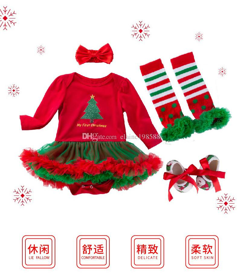 01dae0c1a8cce 2019 XMAS Festival Baby Clothing Sets 0 24 Months Newborn Girl Romper  Dresses Cotton Jumpsuits Ruffle Dress+Leg Warmers+Shoes+Headband  From  Elaine198588