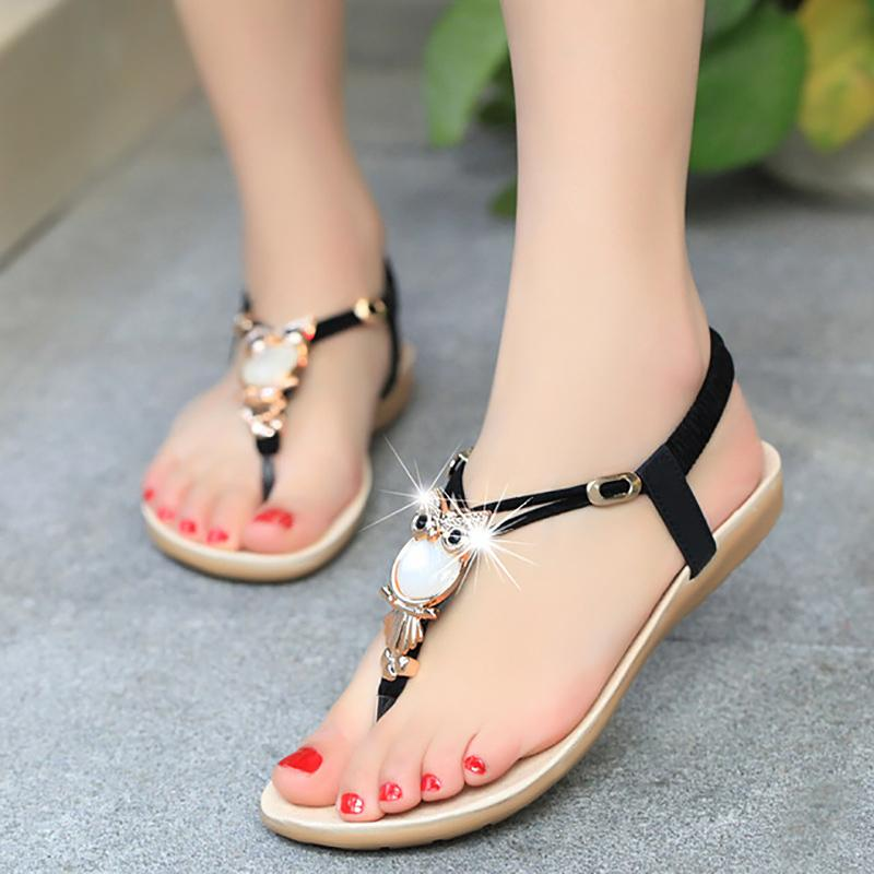 Summer women sandals shoes 2018 new arrival women flat sandals flip flop t-strap bohemia beaded owl slipper shoes
