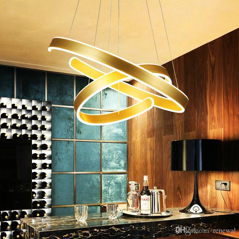 AC90-260V Moderne Pendelleuchten für Wohnzimmer Esszimmer Geometrie Kreis  Ringe Acryl Aluminium Körper LED-Beleuchtung Deckenleuchte