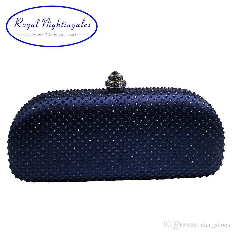 d86725197 Compre Elegante Bolsa De Embreagem De Caixa De Cristal Azul Marinho ...
