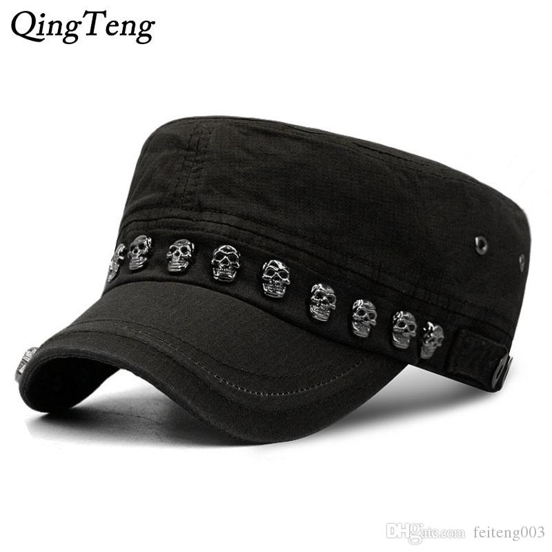 fa7cca19babdc5 Hip Hop Skull Flat Hats Punk Rivet Ring Men Army Hat Cool Woman Casual Baseball  Cap Brand Fitted Hats 2018 New Year'S Gift #17596