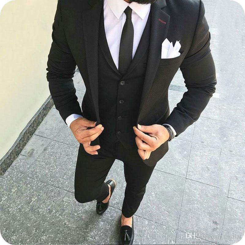 Different Styles For Wedding Men: Casual Men Suits 2019 Black Wedding Tuxedos Slim Fit Groom