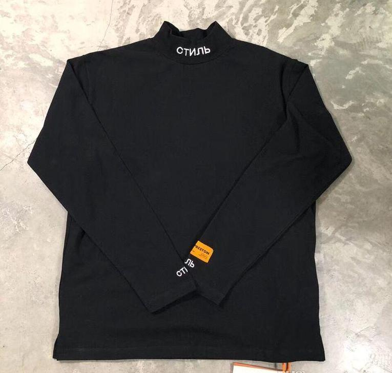 2019FW NEW TOP Autumn High Quality Heron Preston Embroidery Men Women Turtleneck Hip Hop Fashion Long Sleeves Tshirt Heron Preston Cotton