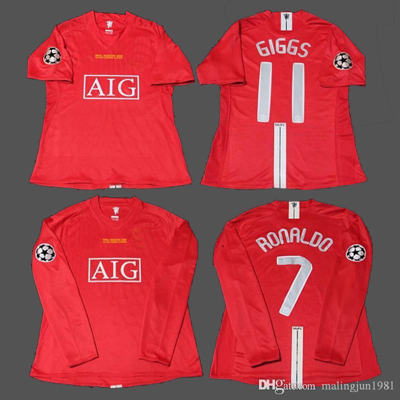 6ea3ba3ae9a Manchester United 07 08 Solskjaer Ronaldo Giggs Rooney Scholes Nani HOMBRE  Liga Vintage 2007 2008 J.S.Park Retro Soccer Jersey Maillot Camisetas De  Fútbol ...