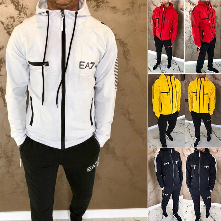 2019 Casual Men Set Fashion Letter Pattern Mens Sportwear Tracksuit Long Sleeve Hoodies Drawstring Long Pant Suit Male