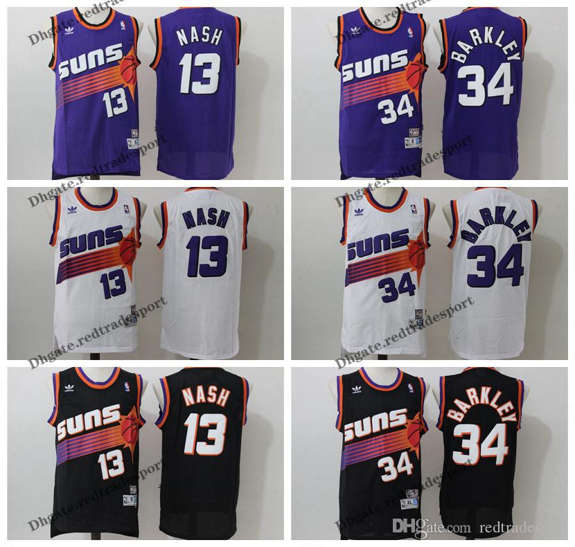 purchase cheap 513a9 1a58a Vintage Mens #13 Phoenix Steve Nash Charles Barkley Suns Basketball Jerseys  Cheap Black #34 Steve Nash Charles Barkley Stitched Shirt S-XXL