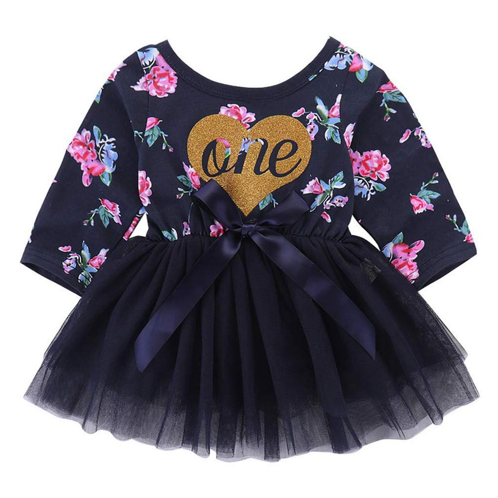 51fb1dcab3d 2019 Infant Baby Girl Tulle Dress Clothes Dress Clothes For Newborn Infant  Letter Heart Floral Printed Tutu Princess Party 2019 From Paradise02