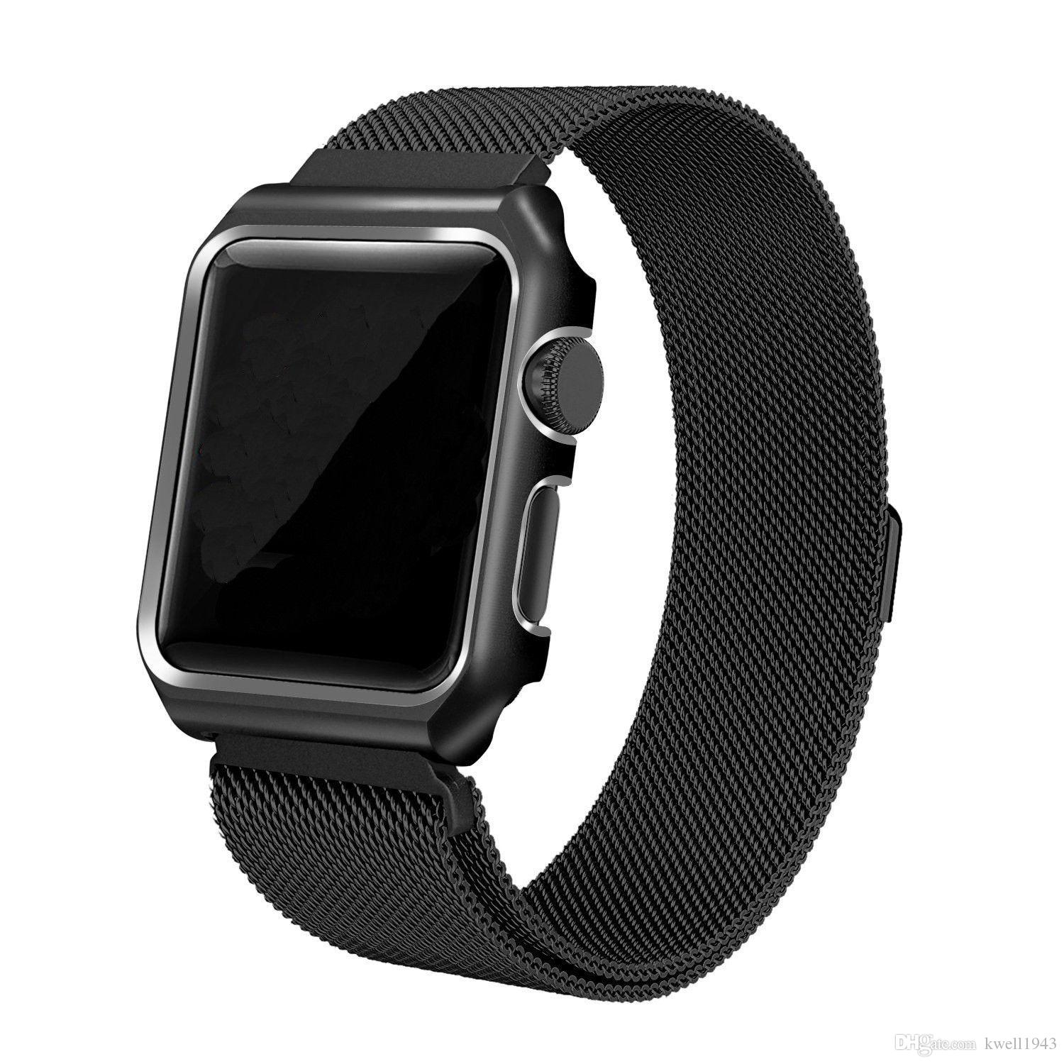 new style 586dd d2370 Ultra Thin Aluminum Metal Alloy Bumper Case Cover For Apple Watch Series 3  2 1 iWatch 38mm/42mm Stainless Steel Band