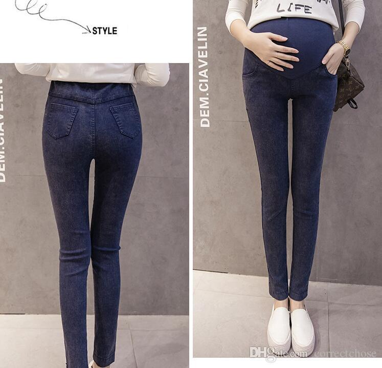 f58a79676 Compre Mujer Embarazada Pantalones Vaqueros Rasgados Pantalones De  Maternidad Pantalones De Enfermería Prop Belly Jeans Embarazo Invierno  Pantalones ...