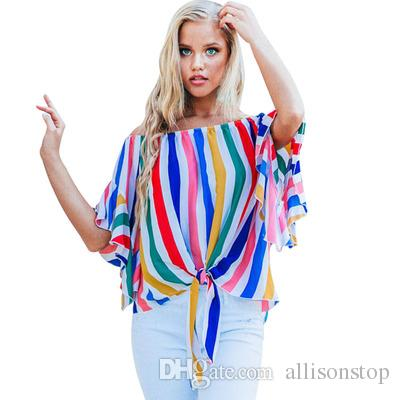 Striped Printed Womens Blouses Seven-Point Trumpet Sleeves Tube Top Collar Slash Neck Casual Shirts Summer and Spring Slim Fit Floral Tosp