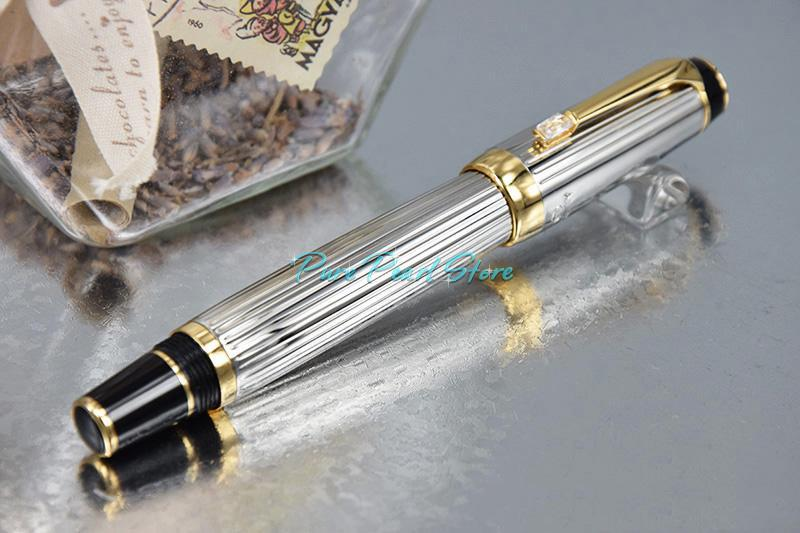 Pure Pearl MBohemia High Quality Office School Stationery Silver Wiredrawing Style with Golden Clip Luxury Roller Ball Pen
