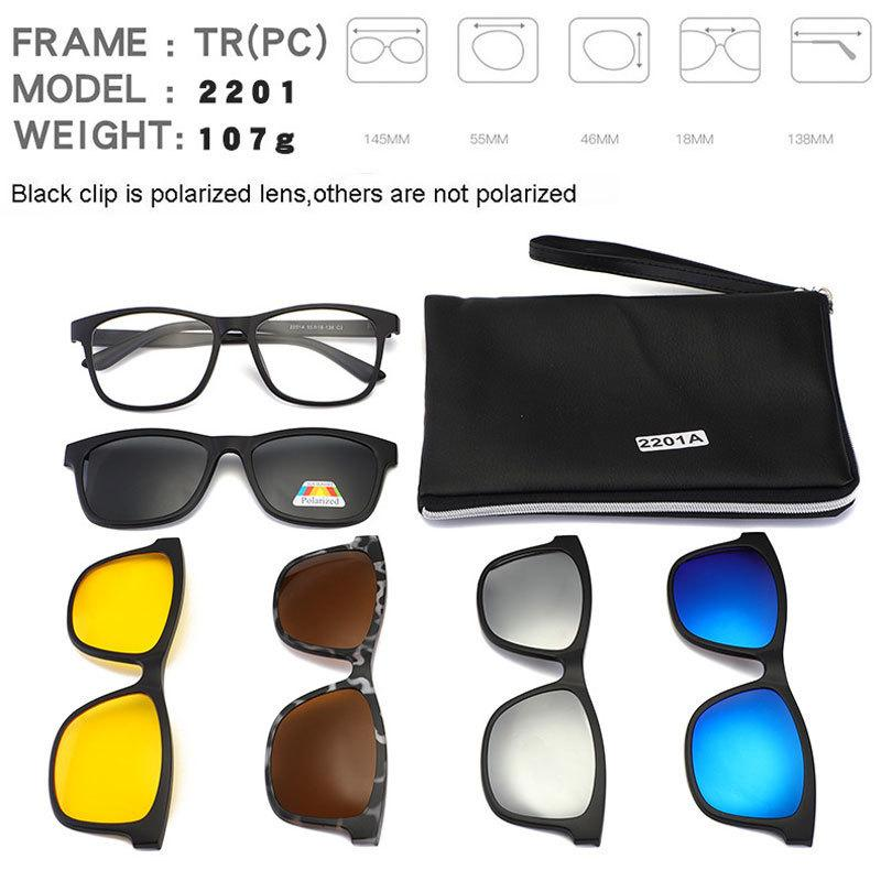 Square Retro Clip On Sunglasses Men Polarized Women Magnetic Night Vision Optical Frame Set 5+1 Sun Glasses 2018 Lunettes Oculos Y19052001