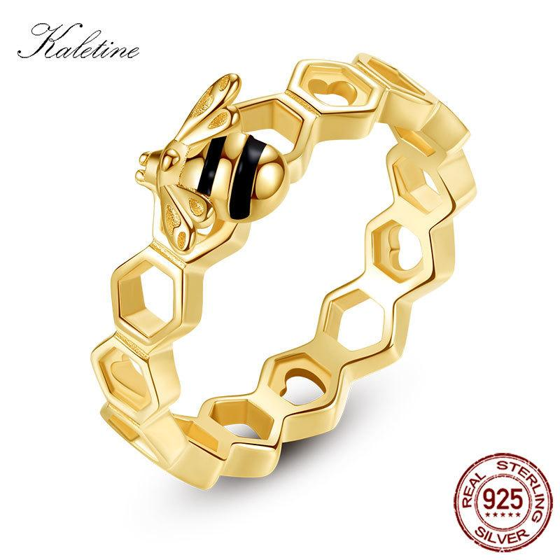 b04a728a4dacb1 Acquista Kaletine Honeybee Cuore Sterling 925 Anelli D'argento Amore  Multicolor Rose Gold Bee Favo Anelli Donna Uomo Gioielli Luxuy C19041203 A  $13.77 Dal ...