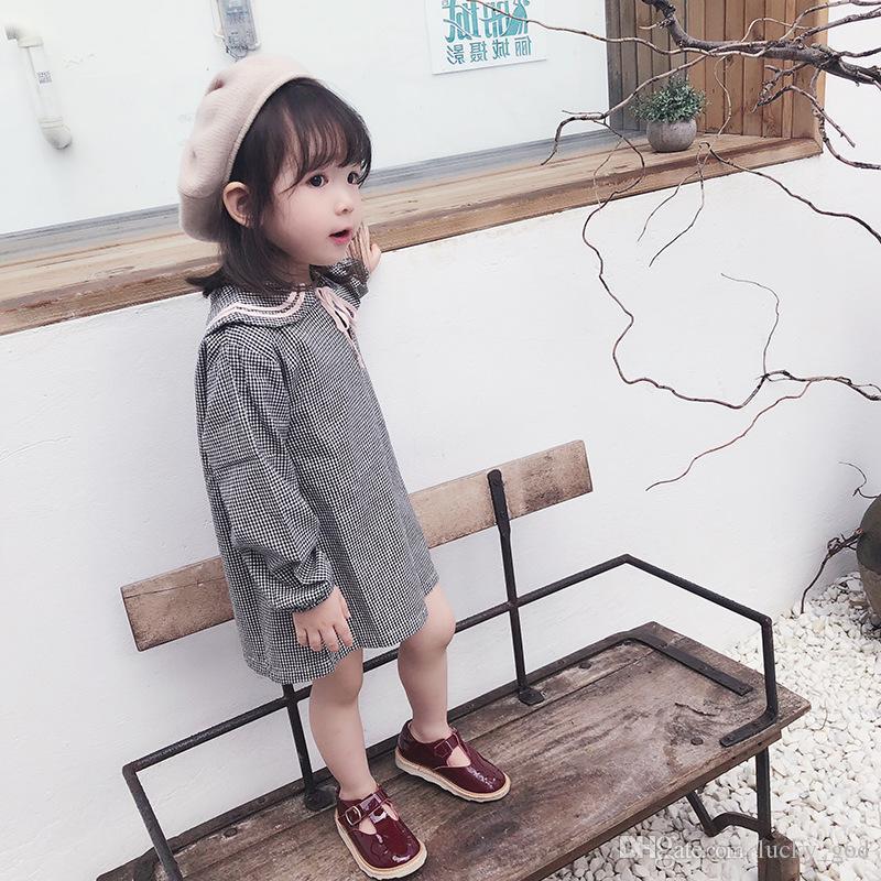 2820c4811 2019 primavera y verano cargado ropa para niños nuevos 2-7 años de edad  Falda de niñas colegio vestido a cuadros falda muñeca de manga larga paño  ...