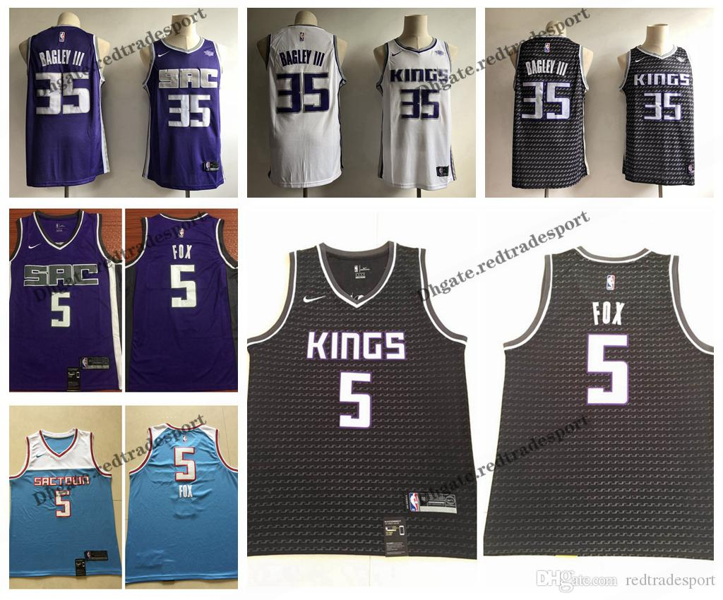 new style 449ec e9f37 2019 Earned Sacramento De'Aaron Fox New Black Marvin Bagley III King  Edition Basketball Jerseys Cheap Fox Edition Stitched Shirts S-XXL