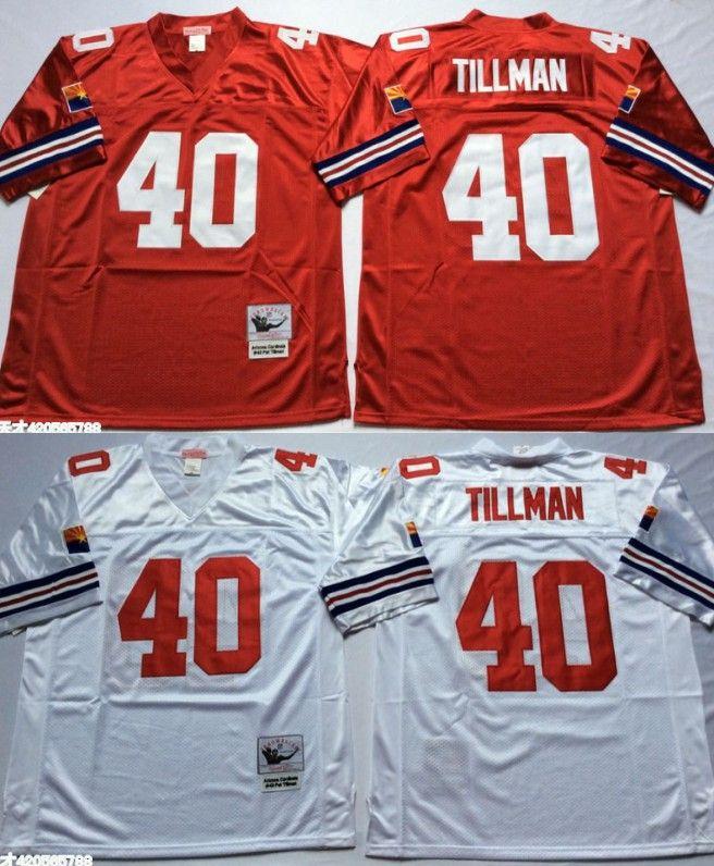 100% authentic 298ef ee8f5 Vintage Arizona 40 Cardinals Pat Tillman Football Jerseys Cheap Home Red  White 40 Pat Tillman Stitched Shirts S-3XL