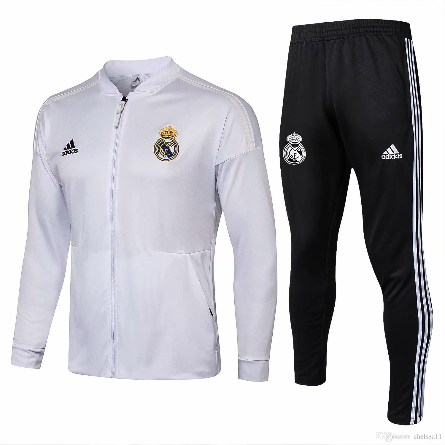 low priced d57b9 cd958 3sets of free delivery DHL 1819 Real Madrid low-collar jacket 2019 fcbMessi  Coutinho training football Jersey Real Madrid track and field cl