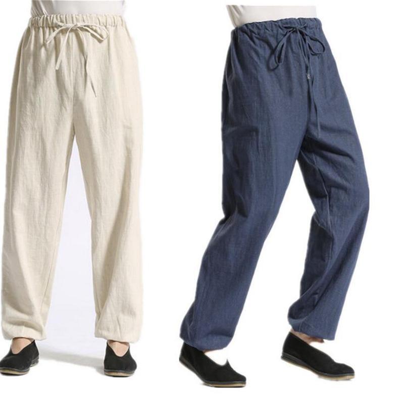a338809749 Men's Cotton Linen Pants Breathable Foot-binding Casual Wide Leg Linen  Trousers Men Soft Natural Flax Loose Pants 4Colors KZ0002