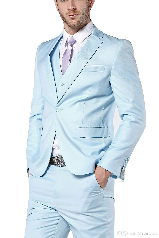 Modest Hellblau Hochzeit Smoking 3 Stück Slim Fit One Button Hosenanzüge Formelle Männer Business Blazer Anzüge