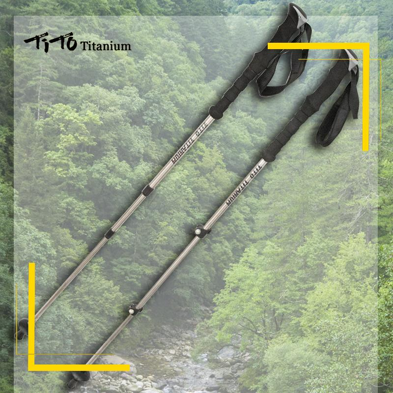 iTo Outdoor Camping GR9 Titanium alloy lightweight hiking Telescopic Stick Walking Trekking pole TiTo Titanium Trekking pole Outdoor C...