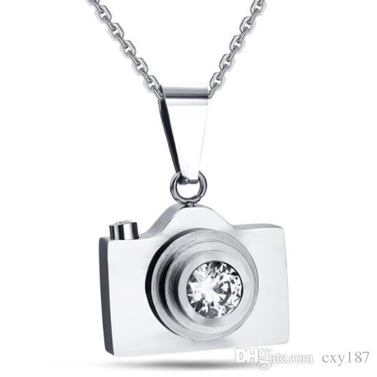 002441b4b7e32 Titanium Steel Camera Necklace Retro Black Blue Silver Stainless Steel  Camera Pendant Men s Women s Student Jewelry