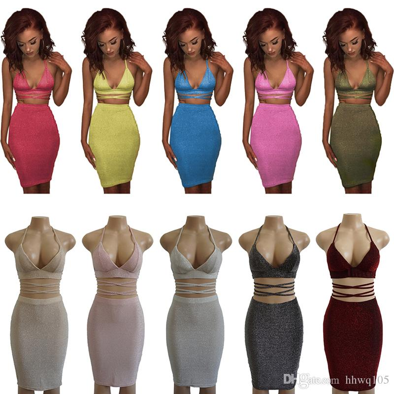 8d1150ec74 2019 Women S Glitter Sleeveless Bandage Bodycon Midi Dress V Neck Halter  Backless Top Elastic Waist Wrap Skirt Two Piece Sexy Club Party Dress From  Hhwq105