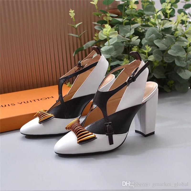 e6063564f Compre NOVA HEADLINE BOMBA TRANSVERSAL 1A4M74 Bombas Das Mulheres De Luxo  Sapatos De Grife Sandálias De Moda De Luxo Bomba De Salto Grosso Com Caixa  De ...