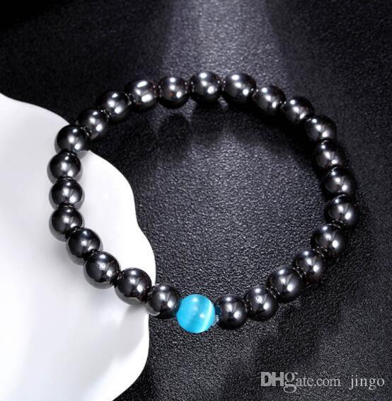 2b8ab15aa6e9 DHL Negro Pulsera Magnética Perlas Hematita Terapia de Piedra Cuidado de la  Salud Imán Perlas Hematita Pulsera Joyería de los hombres Favor