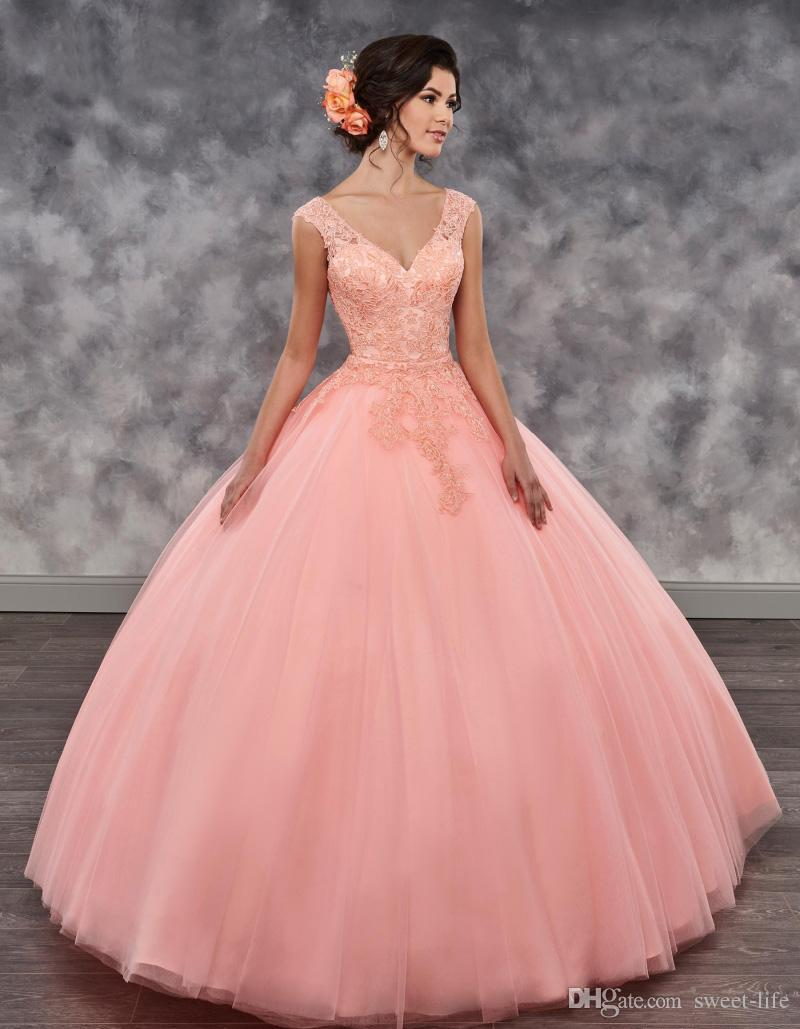 5f2eaee27fc Two Piece Girls Quinceanera Dresses Tulle V Neck Mini Skirt Detachable Skirt  Sweep Train Lace Up Back Ball Gown Prom Dress Little Girl Quinceanera  Dresses ...