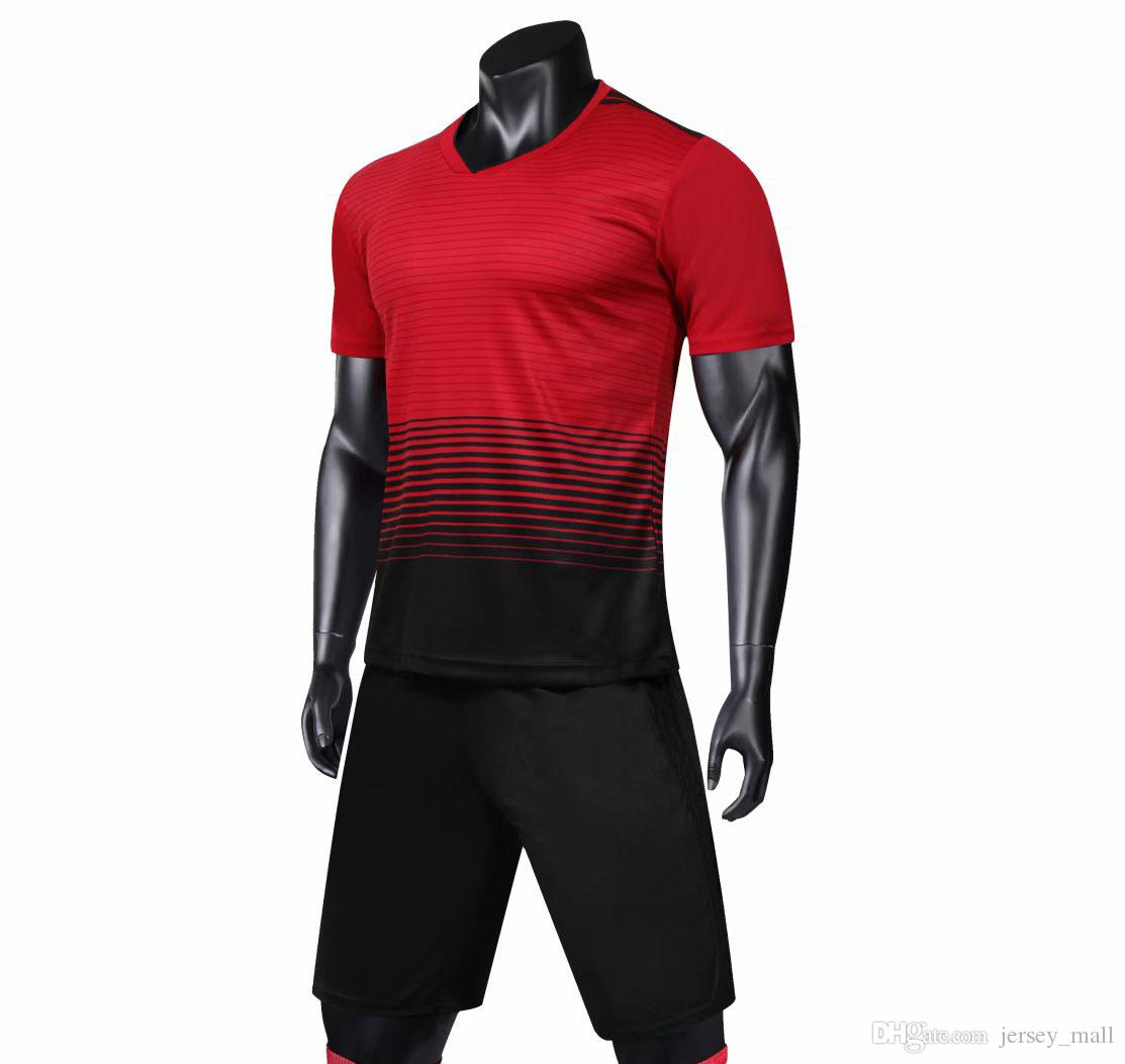 f924572bcc0 New soccer jersey kit wholesale football tshirt + shorts pants uniform set  adult sport articles Blank jersey  Discount Sale