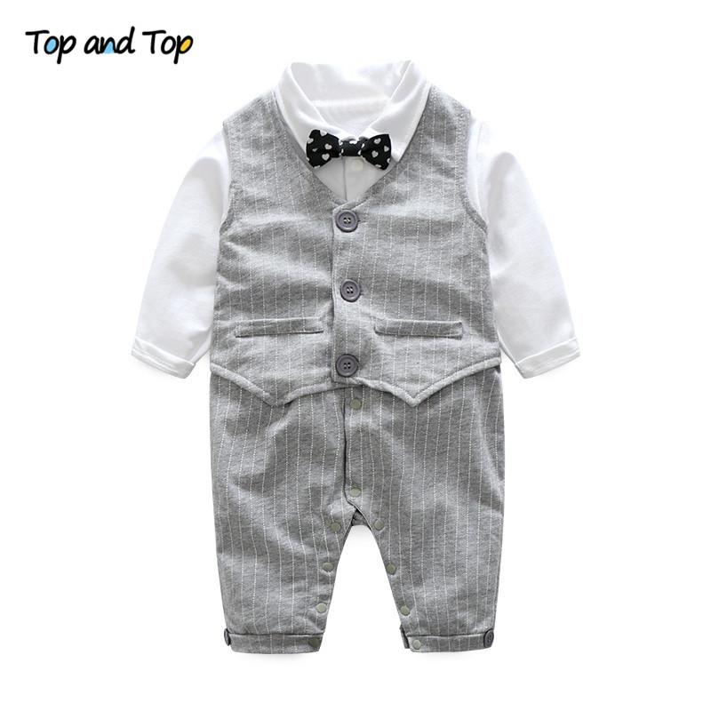 Top and Top Autumn Toddler Baby Boy Casual Clothing Set Grey Vest + Long Sleeve Bow Tie Romper Wedding Party Gentleman Suit