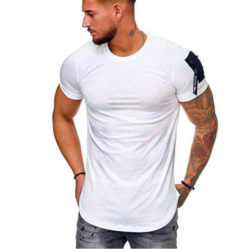 Men Summer Casual Zipper Slim Fit Solid T-Shirt Zipper Short Sleeve Tops Blouse