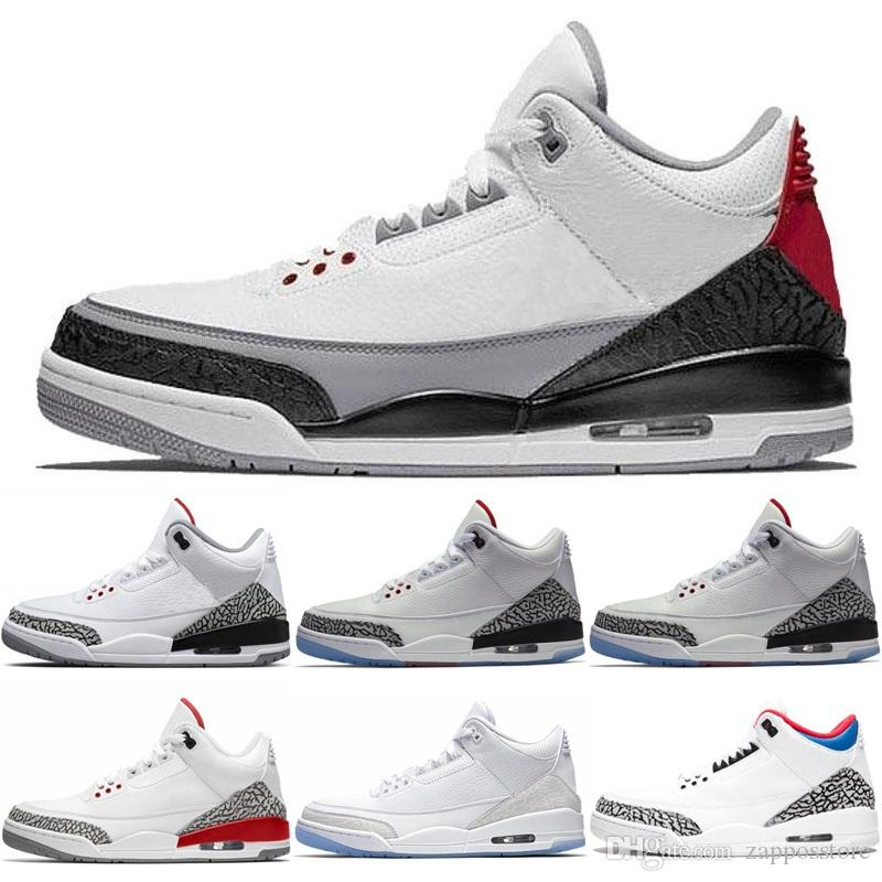 best website 2cfc1 e37a0 3 Men Basketball Shoes White Black Cement Infrared Georgetown Hoyas PE Pure  White Man of Woods Katrina 3S Mens Sports Sneakers 41-47