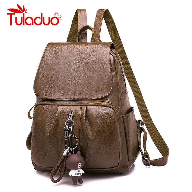 dc6f66df13fc 2018 Women Leather Backpacks Vintage Female Shoulder Bag Sac A Dos Travel  Ladies Bagpack Mochilas School Bags For Girls Preppy Backpacks For School  Laptop ...