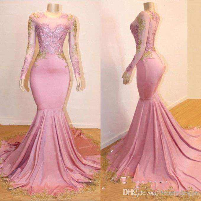 d0cdbcfd8d4 2019 Elegant Pink Sheer Long Sleeves Mermaid Long Prom Dresses Black ...