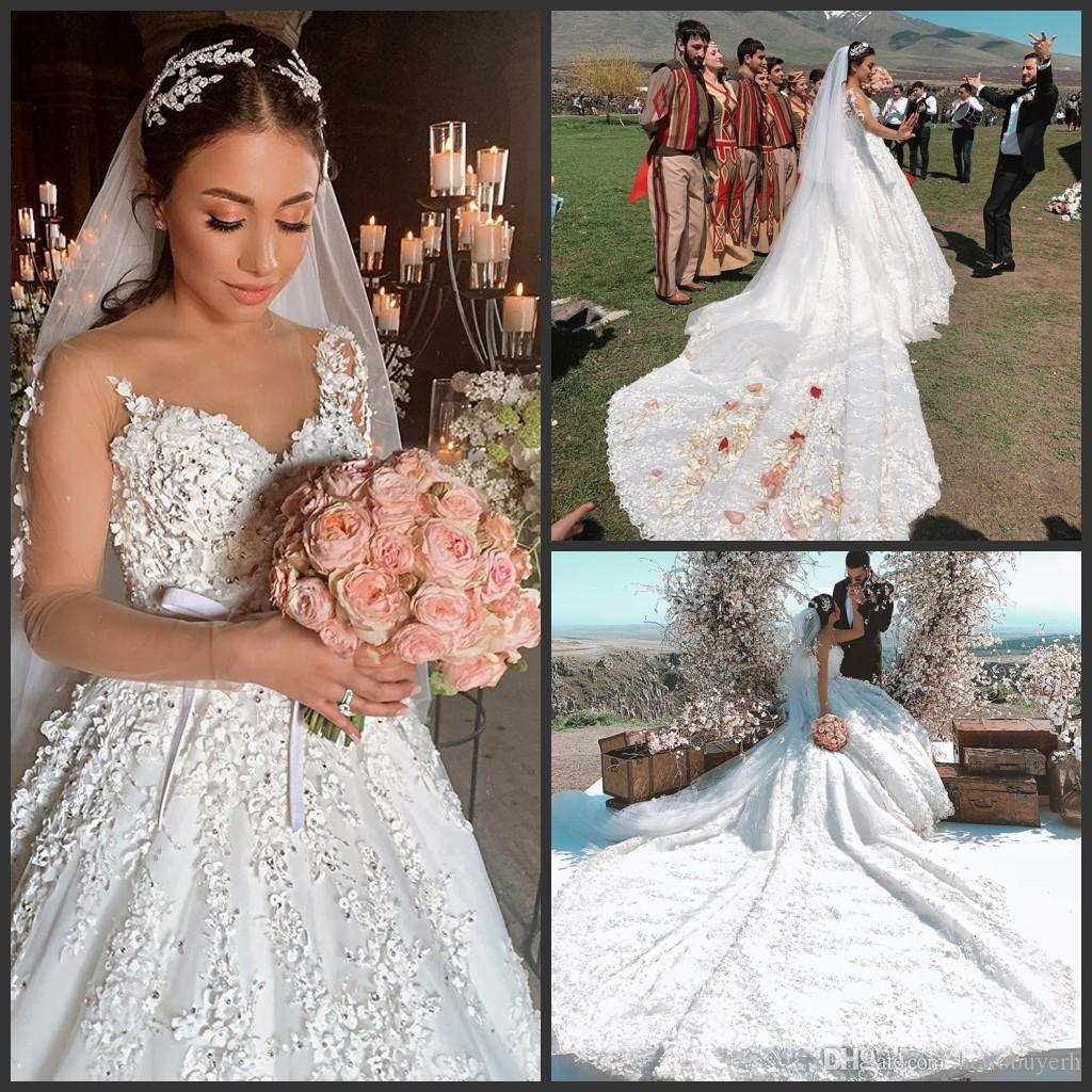 409942e8b Long Sleeve Muslim Lace Ball Gown Wedding Dresses Bridal Gowns ...