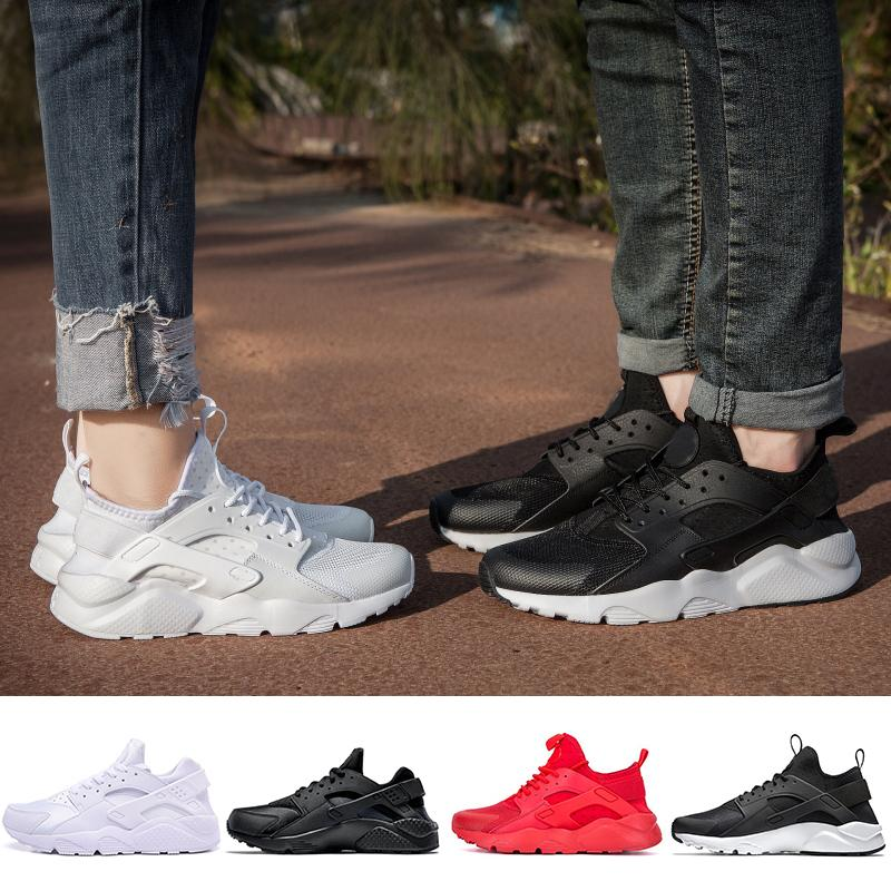 premium selection 540ef 663df New Huarache Running Shoes 1.0 4.0 Mens Women Triple White Black Red Grey  love hate pack Trainers Huaraches Sports Sneaker 36-45