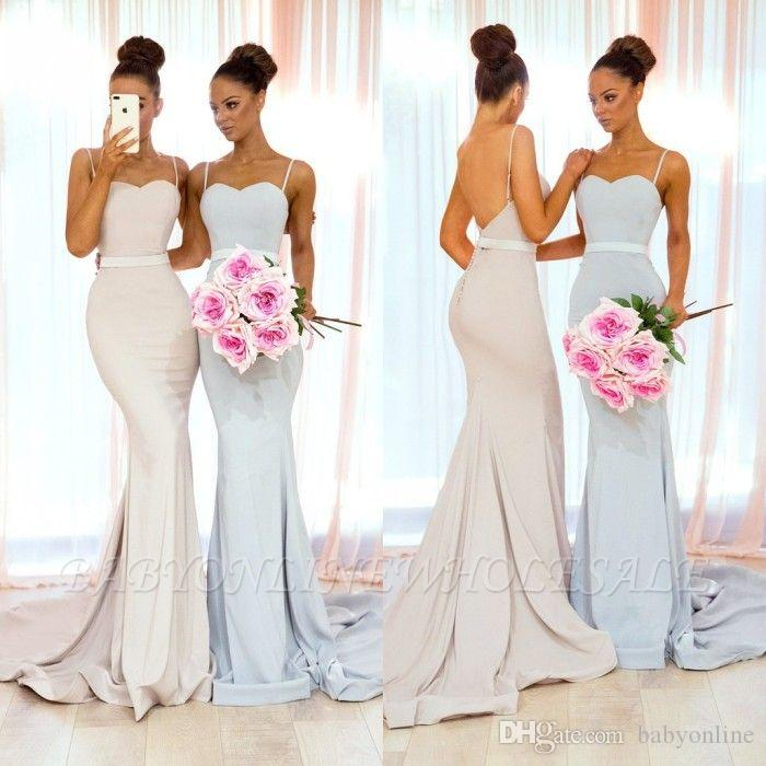 d78ca63990cd Ivory Mermaid Bridesmaid Dresses 2019 Sexy Spaghetti Straps Open Back Sweep  Train Maid Of Honor Arabic Wedding Guest Evening Prom Gowns Summer  Bridesmaid ...