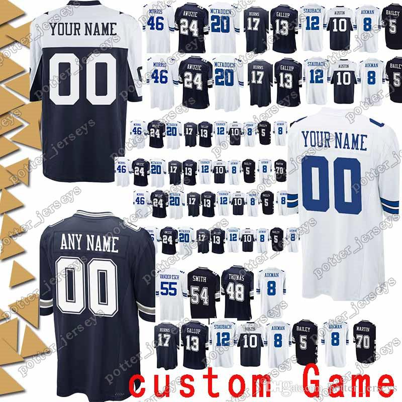 detailed pictures d6241 5c8e2 Dallas 54 Jaylon Smith Cowboys Jerseys 94 Randy Gregory 12 Roger Staubach  97 Taco Charlton 33 Tony Dorsett 8 Troy Aikman Jersey custom Game