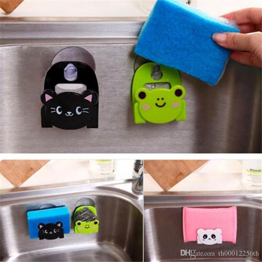 Cartoon Dish Cloth Sponge Holder With Suction Cup Kitchen Multifunctional Storage Organizer Rack Dinning Kitchen Rack Organizer