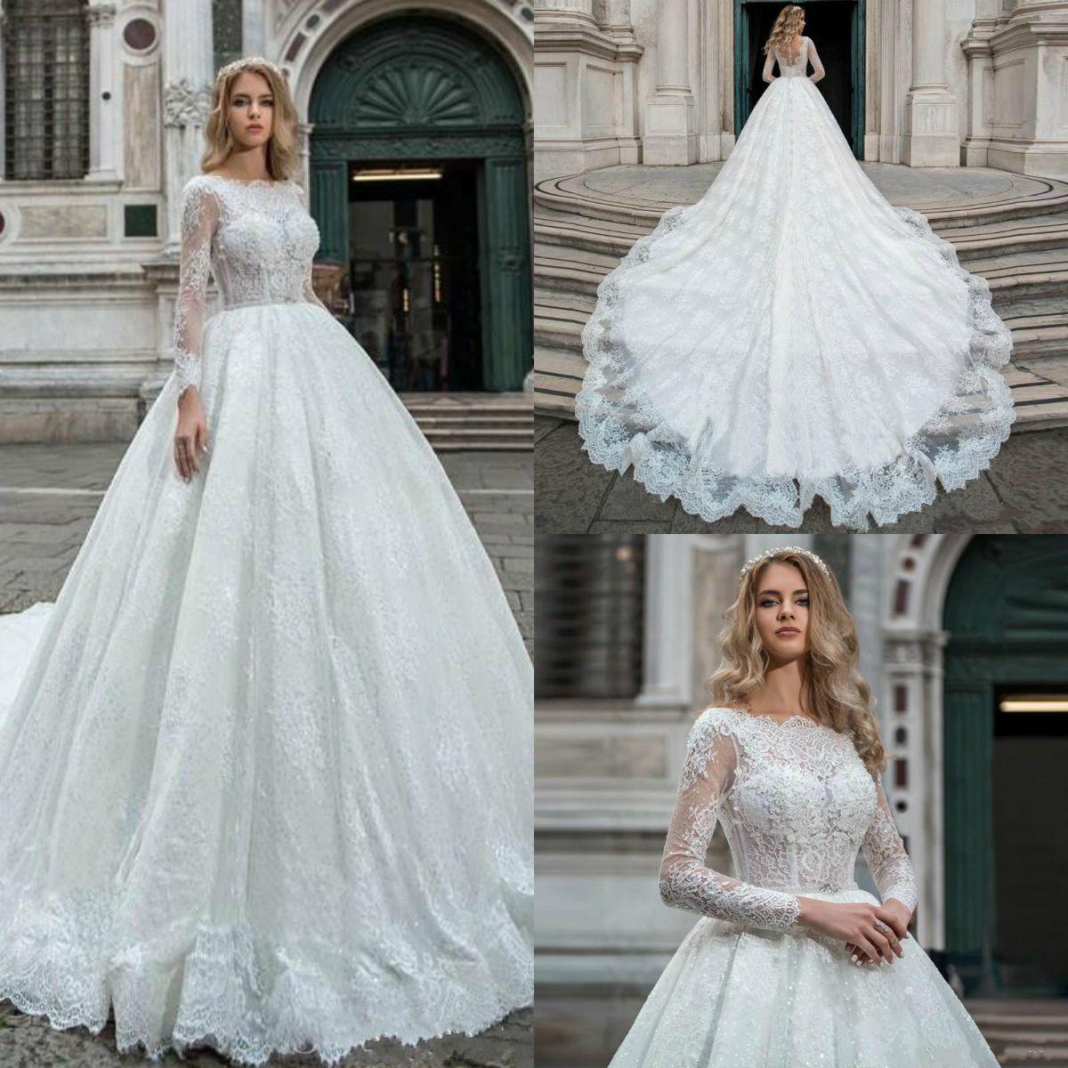 2019 Princess Gorgeous Ball Gown Wedding Dresses Long Sleeve Bridal ... 82946ab1f164