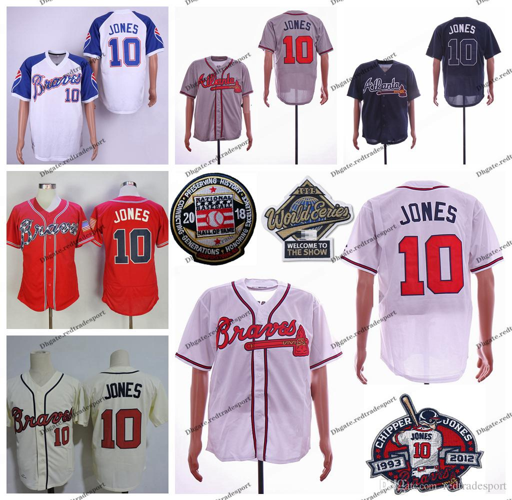 premium selection 3a6c7 6a9b4 Vintage Chipper Jones Jersey 1995 WS Retirement Patch 2018 Hall of Fame  Home Away White Pullover #10 Chipper Jones Baseball Jerseys