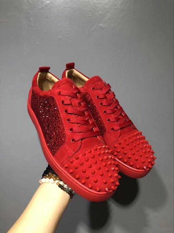 High Quality Shiny Red Rhinestone Toe Leather Women,Men Unisex Sneakers Design Low Top Red Bottom Shoes Casual Walking Flats Size 36-46