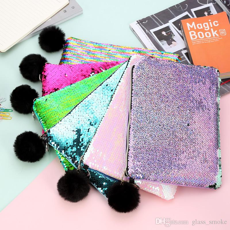 Mermaid Sequin Makeup Bag Fur Ball Zipper Pouch Pencil Case Storage Bags Portable Glitter Reversible Sequin Cosmetic Case