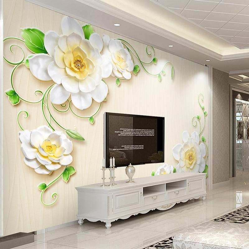 Custom Mural Wallpaper 3d Stereo Embossed Flower Butterfly Photo Wall Painting Living Room Tv Sofa Bedroom Home Decor Wall Paper Clear-Cut Texture Home Improvement