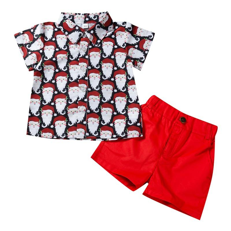 2019 Baby Kids Two Piece Short Sleeved Shorts Boys Santa Claus Printed Shirt Pants Children\'s Set