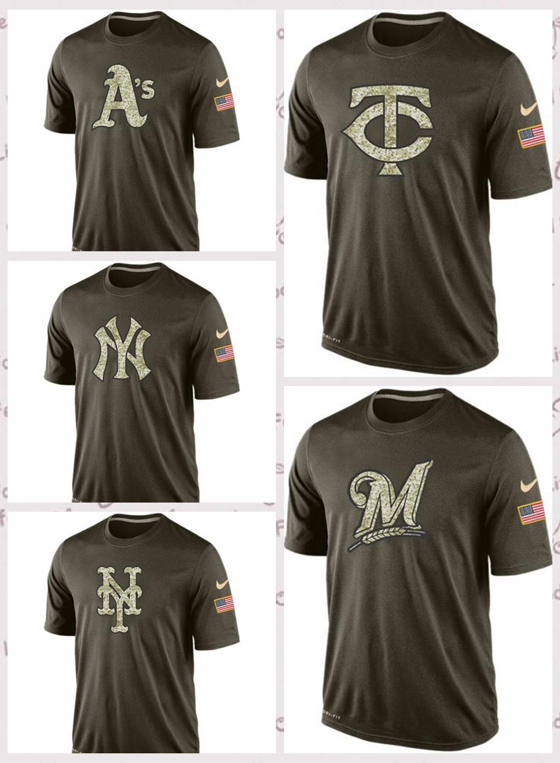 de homens Oakland Athletics Milwaukee Brewers Minnesota Twins New York Met New York Yankee Salute ao serviço T-Shirt